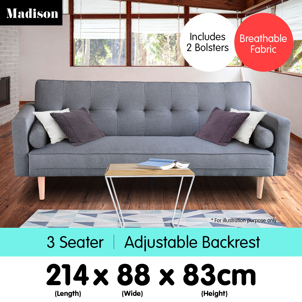 Madison 3 Seater Linen Sofa Bed Couch With Pillows Dark